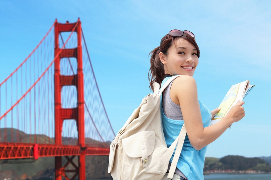 asian student at golden gate bridge