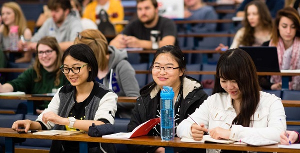 Aberystwyth University students in the lecture theatre