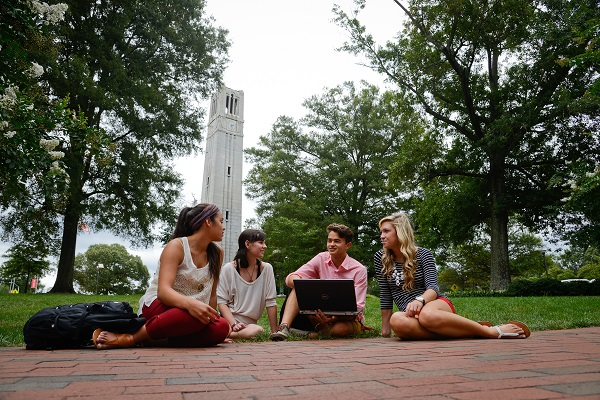 Students by the Belltower at NCSU