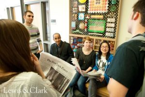 students talking at lewis and clark