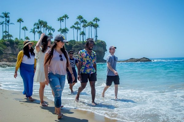 University of California, Irvine students on the beach